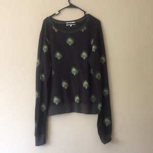 Wildfox Peacock Feather Sweatshirt Size Small